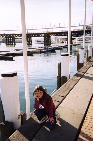 Day 03 - 10 - Darling Harbour boardwalk - Ali and the pier