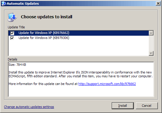 Windows Update showing a JSON bug fix for Internet Explorer 8